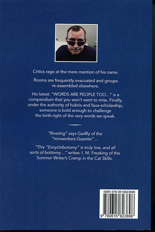 Back cover of Bob's book