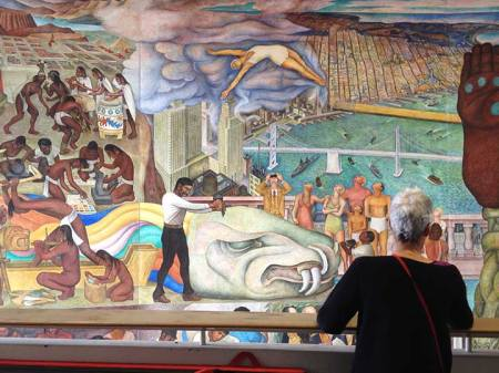 section of Pan American Unity Mural by Diego Rivera