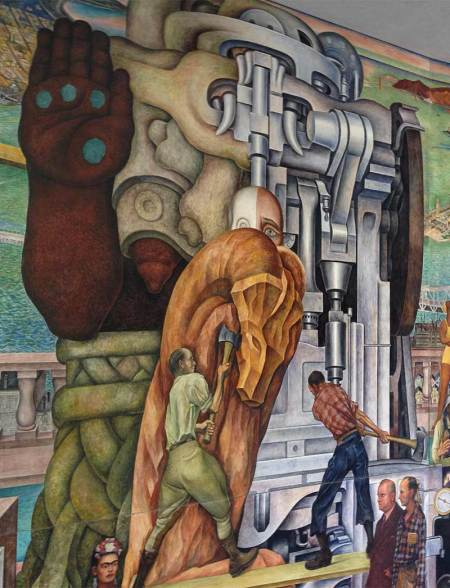 Central motif of Diego Rivera's mural at CCSF