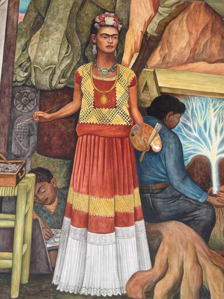Frida Kahlo in Diego Rivera's mural at CCSF