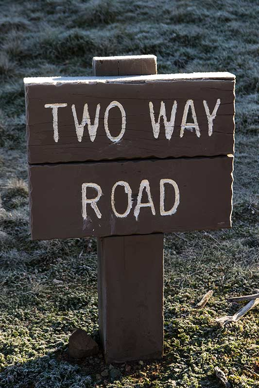 two-way road sign