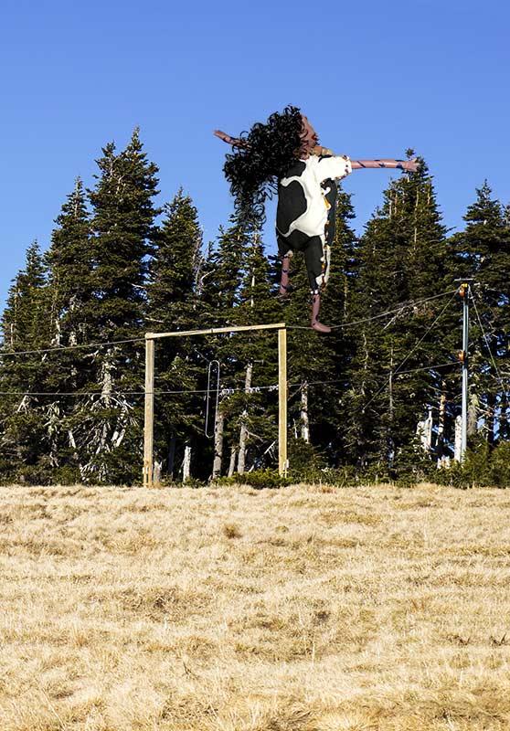 Oola plays on the ski lift.