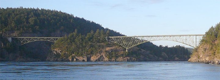Deception Pass and Canoe Pass Bridge from the west