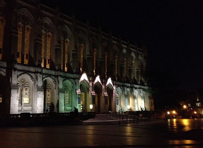 Suzzallo Library, UW after dark